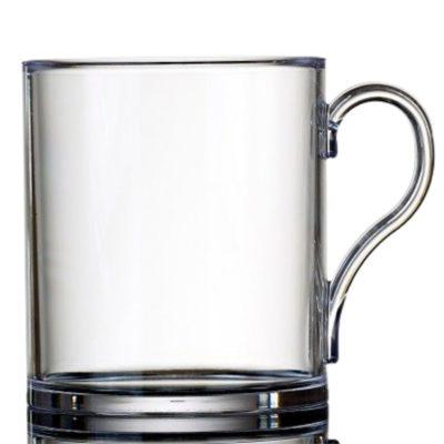 Plastic Tea or Plastic Coffee Mugs Clear, Large 16oz